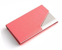 Luxury PU Leather Stainless Steel Business Card Holder Multi Name Card Case with Magnetic Shut