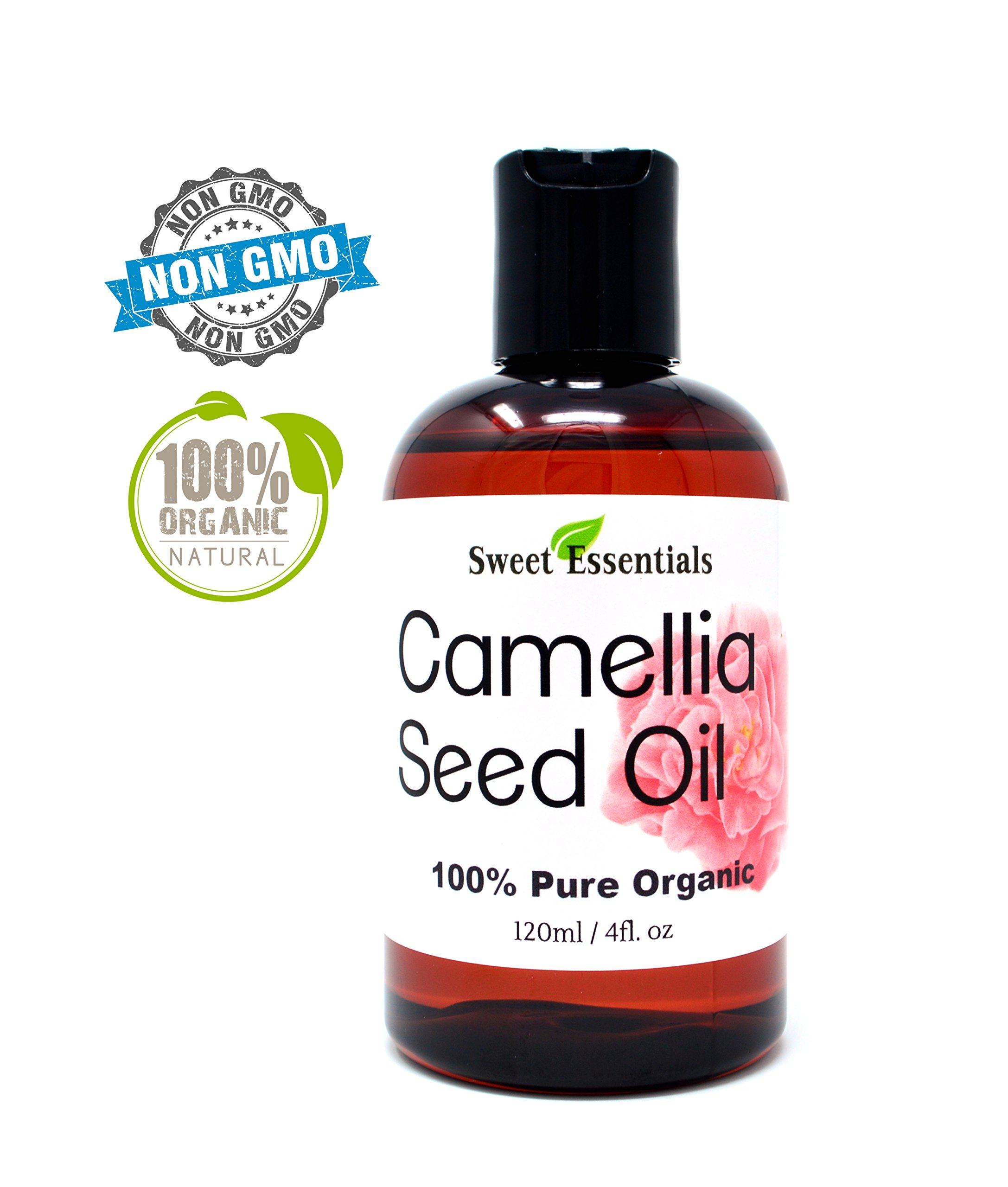 Organic Camellia Seed Oil | Imported From Japan | 4oz Bottle | 100% Pure | 100% Organic | For Hair & Skin Use | By Sweet Essentials