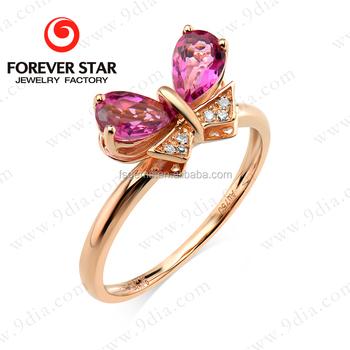 2015 Best Selling Butterfly Tourmaline Diamond 14K Simple Gold