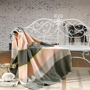 Exquisite Soft Fluffy Yarn knit Cotton Throw Knitted blanket