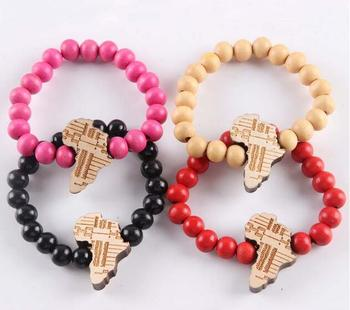 New Fashion Natural Wood Map Of Africa Charm Beads Bracelet