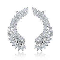 Women Luxury Silver Earring Cubic Zircon Crystal Angel Wing Ear Wrap Cuff Earrings
