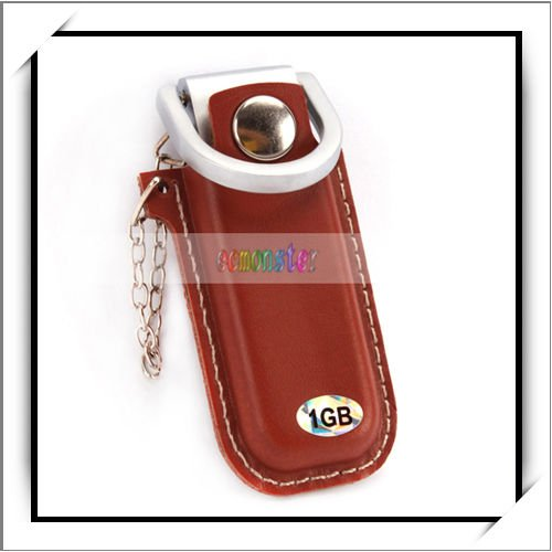 1GB Brown Leather Cover USB Flash Memory Drive With A Ring