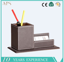 New design office desktop pen holder with business card box leather wooden pen holder