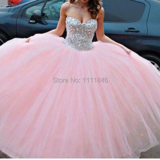 Romantic Pink Wedding Dress Ball Gown For Princess Stones
