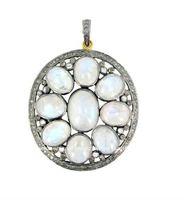 925 Silver Gemstone Jewelry Diamond Bezel Set Rainbow Moonstone Pendant