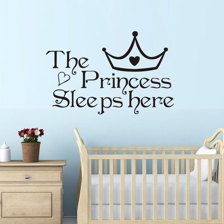 Aliexpress.com : Buy DCTOP The Princess Sleep Here Wall Stickers For Kids Room Wall Decals Home ...