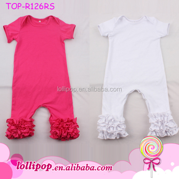 05f0fb703d01 2018 Wholesale boutique baby clothes triple ruffle icing romper jumpsuit  white cotton baby toddler icing rompers