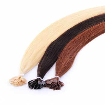 Double drawn virgin remy russian flat tip hair extensions