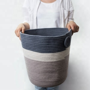 Cotton rope dirty laundry storage bags baskets in bulk