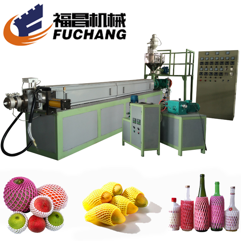 Plastic schuim netto making machines PE schuim fruit extrusie lijn