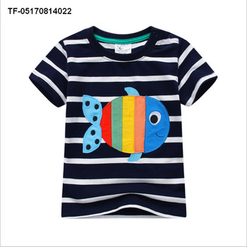 c32594470e54 Children Baby girls Boys Clothes T-shirt Child Toddler Boy Tops Striped  Fish Printed