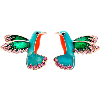 ed01178b Wholesale Pink Crystal Enamel Bird Fashion Charm Stud Earrings For Women