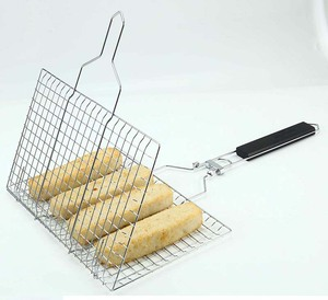Portable BBQ Grilling Basket, Stainless Steel Barbeque Grill Basket with Long Handle for Fish