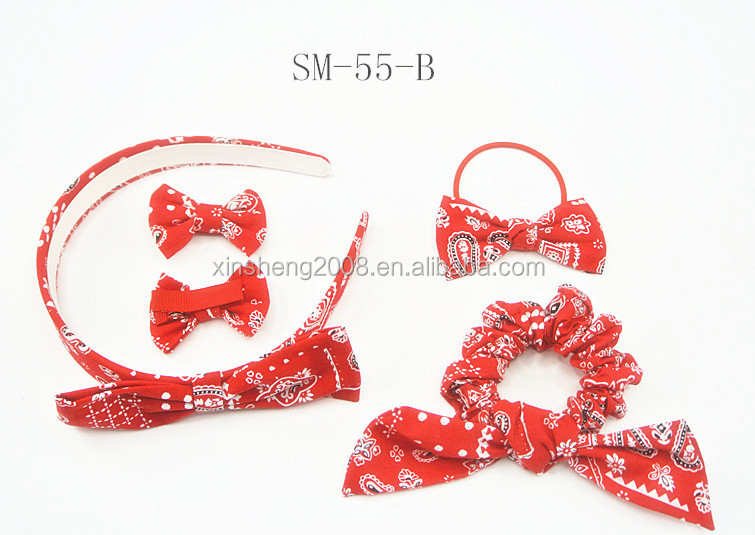 Red liberty print baby headbands