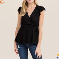 Womens plus size cleavage custom design formal tunic tops and blouses