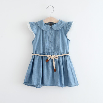 33a025b5bc BSD1384 Baby girl denim dress children jeans frocks designs cap sleeve cow  girls dresses