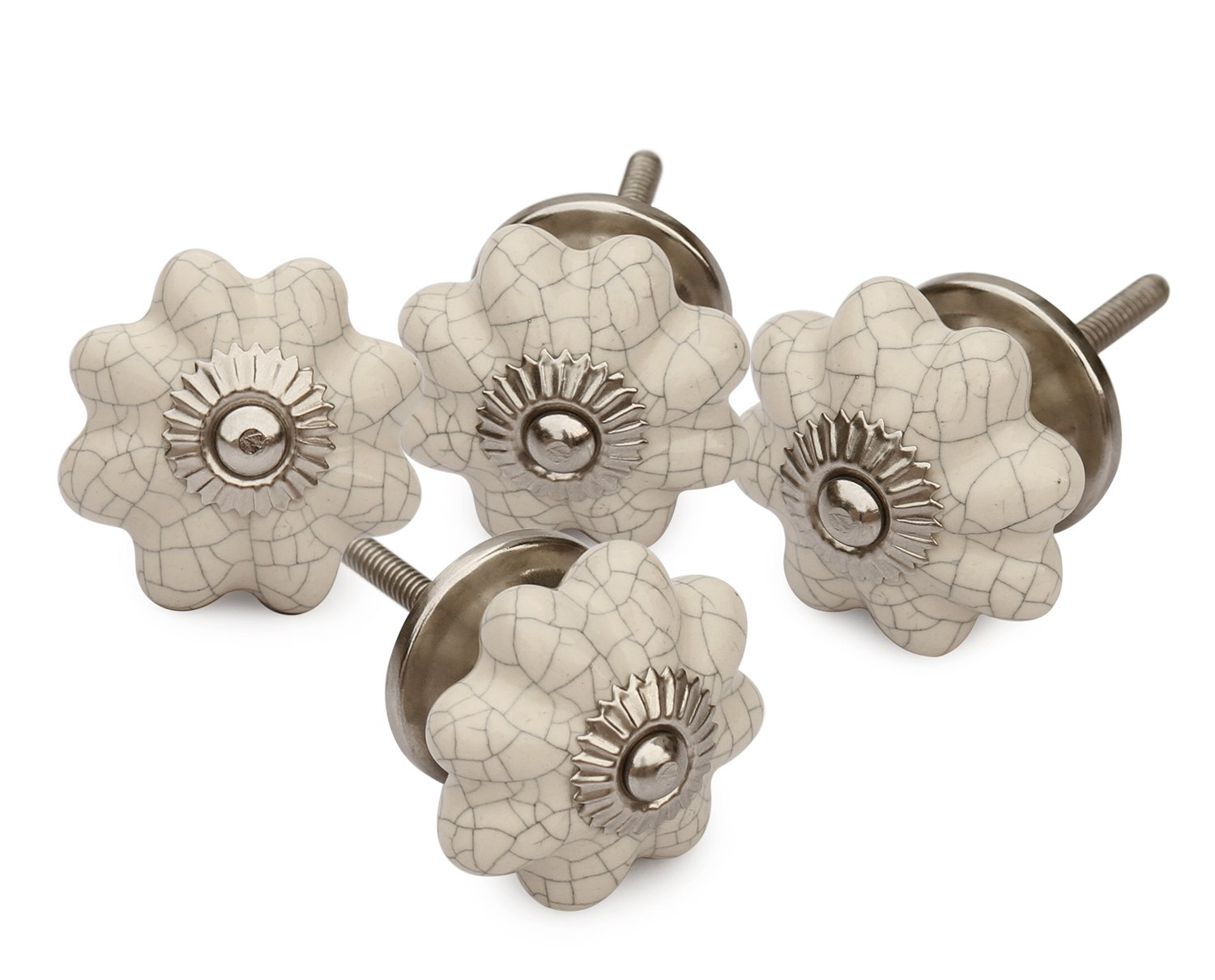2018 - Set of 4 Ceramic White Pumpkin Decorative Antique Door Knobs- Interior Round Knobs and Pulls for Cabinet / Girls Dresser / Kids Cupboard / Kitchen Drawer Handles with Hardware Attached