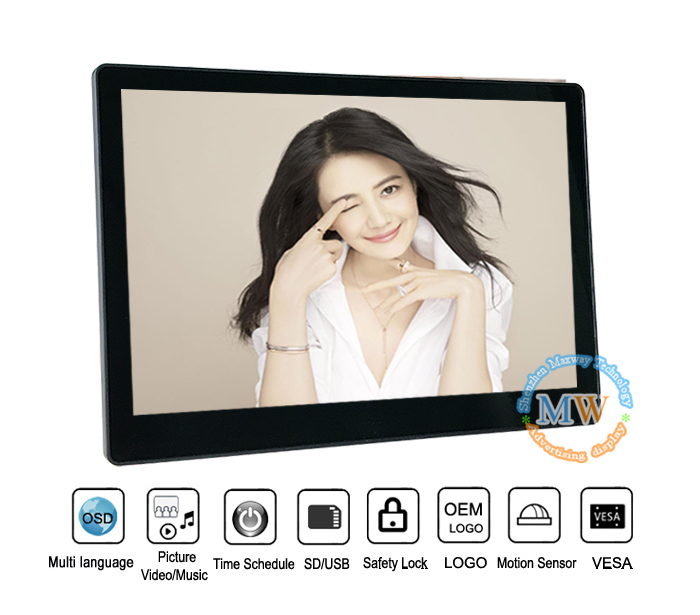 Led Backlit Super Slanke Lcd Digitale Photoframe 12 Inch Fotolijst Met Sd/Usb Auto Copy