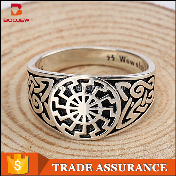 Wholesale class designs value 925 sterling silver black sun men's ring