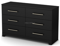 Living Room Furniture /6-Drawer Double Dresser/Pure Black Wooden Dresser