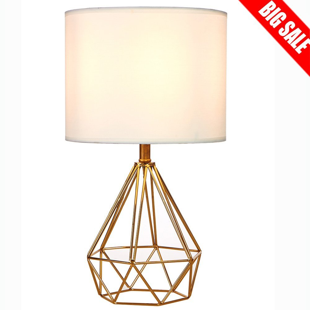 SOTTAE Golden Hollowed Out Base Modern Style Bedroom Livingroom Beside Table Lamp, Desk Lamp With White Fabric Shade