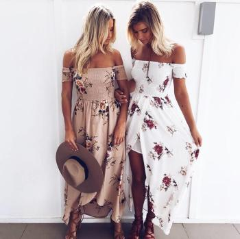 Summer Beach Boho Floral Print Maxi Dress Sexy Girl Off the Shoulder Casual Dress Plus Size Long White Chiffon  Women Dress