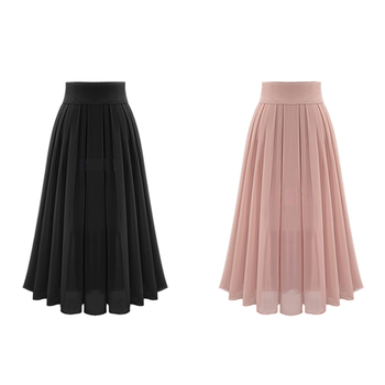 2019 Cheap Price A-line Casual Chiffon Summer Long Maxi Pleated Women Skirts