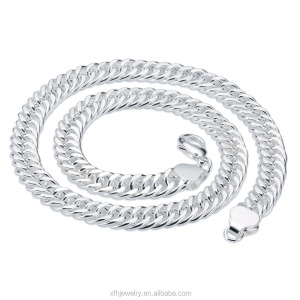 Alibaba High quality 6mm 8mm 10mm Men's Big chain 925 sterling silver necklace, curb silver necklace