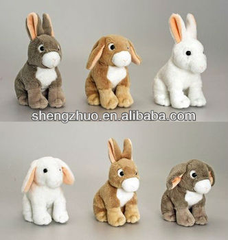 Stuffed Plush Animal Sitting Easter Little Bunny Rabbits With Ears