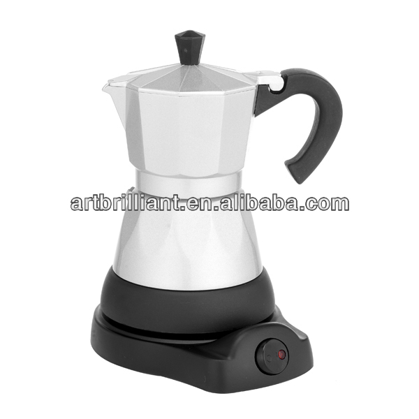 electric Aluminum portable Moka coffee maker different color is available