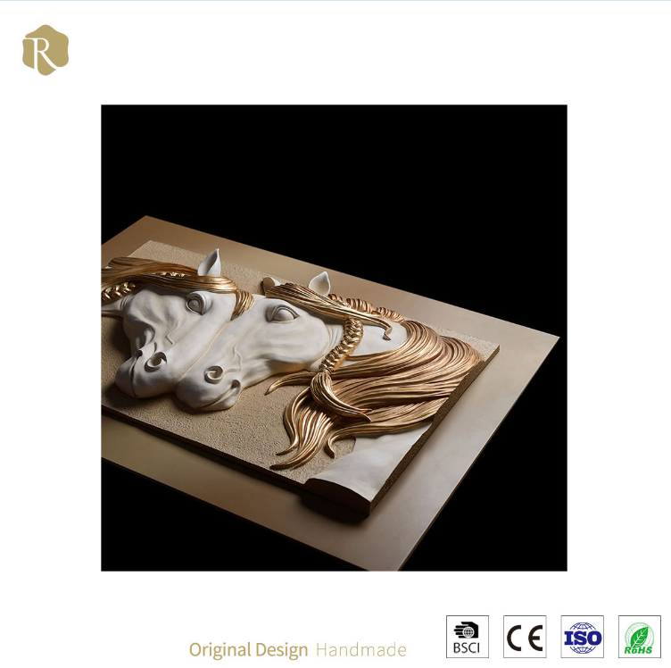 3D Two Horses Resin Relief Wall Art For Sale