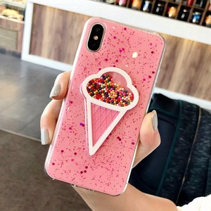 Lovely 3D Ice Cream Phone Cover For iPhone 6 6S 7 8 Plus X Shining Glitter Bling Powder Soft TPU Back Coque Cute Case