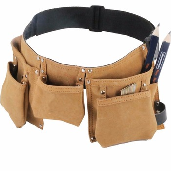 leather kids tool belt set,children's tool pouch with leather hammer loops and carpenter pencils