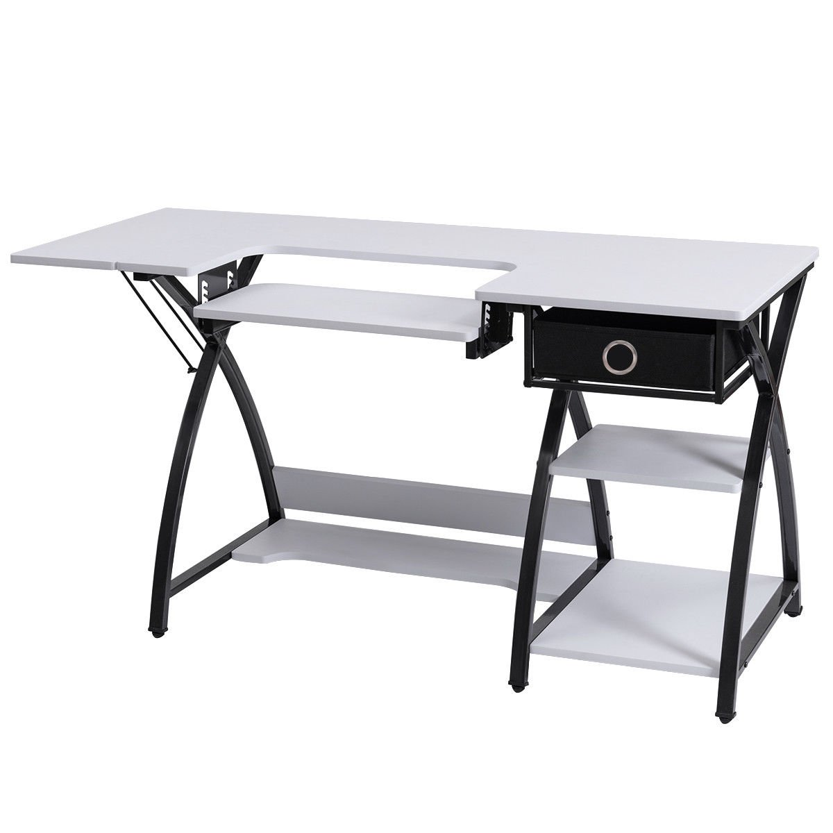 Costway Home Indoor Adjustable Sewing Craft Table Sewing Machine Sturdy Computer Desk with Drawer & Shleves
