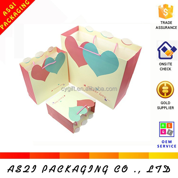 factory supply heart shape printing lovely origami paper gift bag