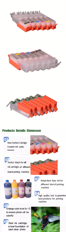 6Color 170 171 Pgi 170 Pgbk Cli-171 Refillable Ink Cartridge For Canon Pixma Mg7710 Mg6810 Mg5710 Printer