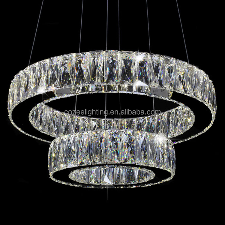 <strong>Modern</strong> LED Crystal Ring Chandelier Lamp Stainless Steel Cristal Pendant Hanging Light Suspension Lighting Fixture LED007/300+500
