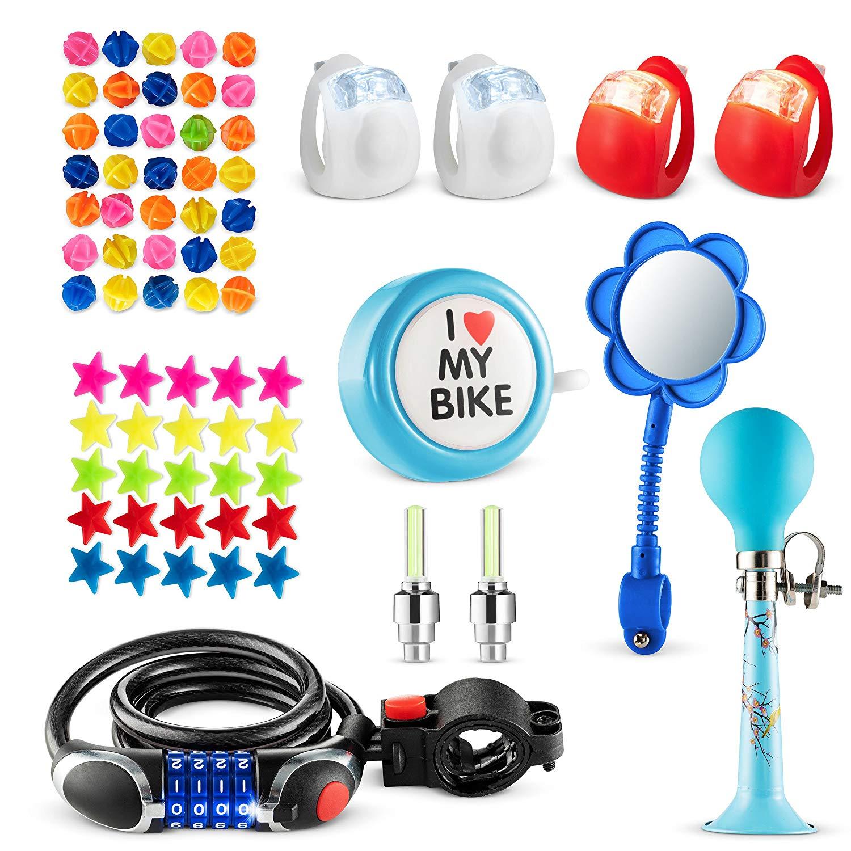 Bikes On Hikes 70 Piece Children's Bike Set Blue - Includes Horn, LED Combination Chain Lock, Mirror, Bell, 2 Flash Valve Sealing Caps, 2 Red & 2 White Lights, 30 Stars, 30 Balls Spoke Lights