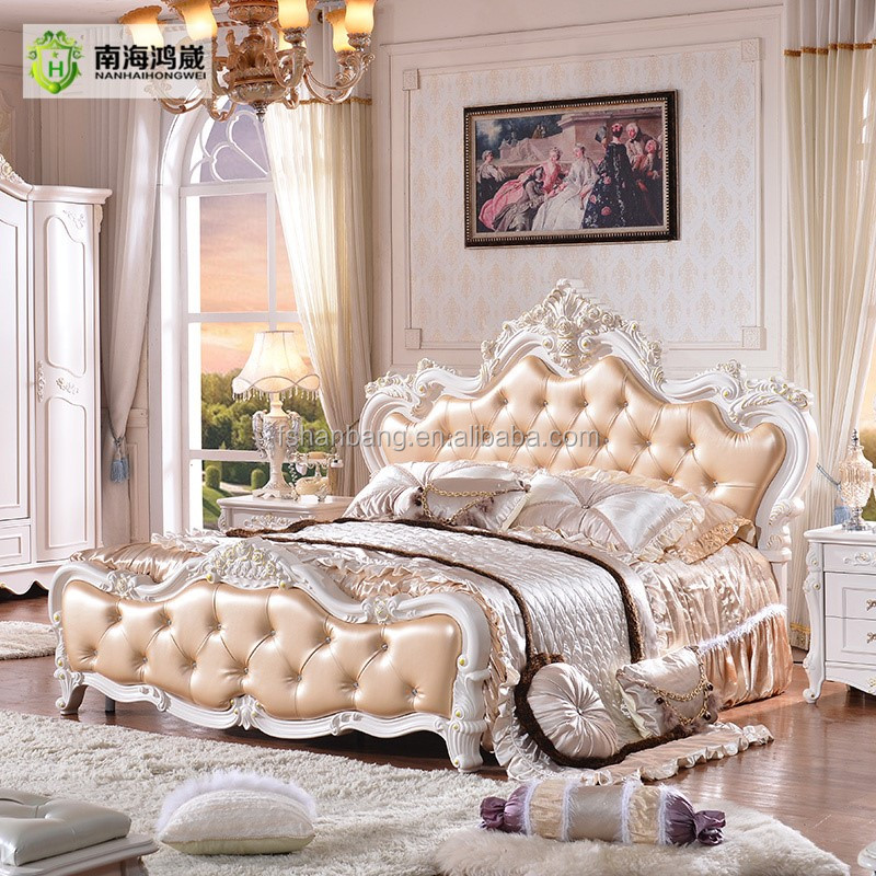 China antiguo lujo clásico tapizado de cuero reina tamaño cama-Camas ...