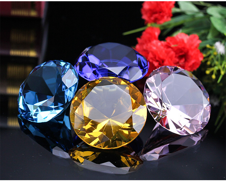 Wholesale 60mm 80mm wedding gift round crystal glass Diamond Jewelry