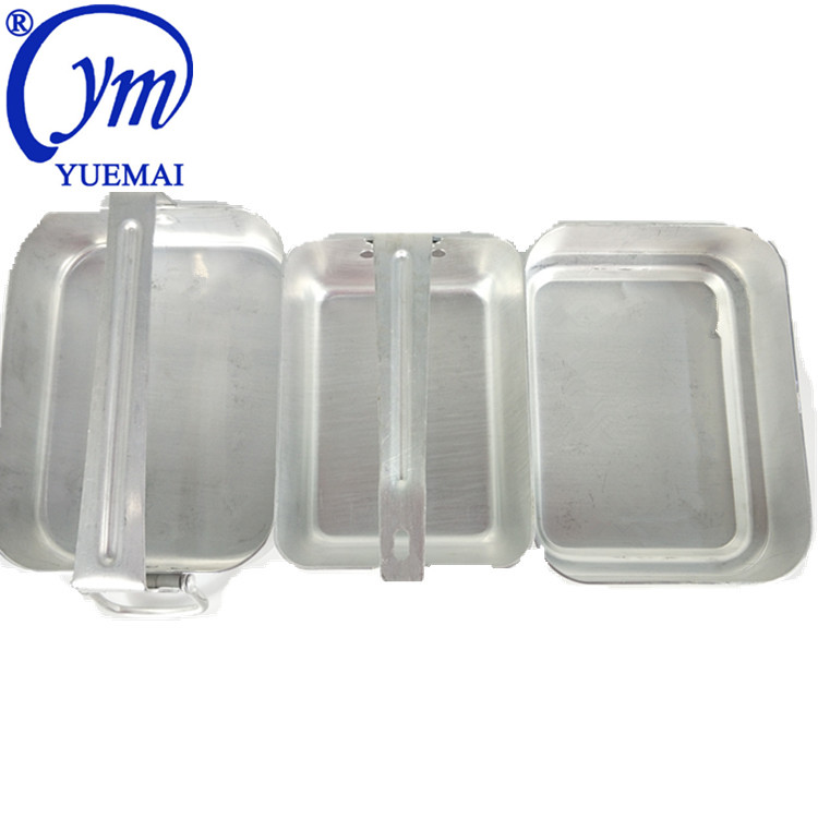 High Quality Aluminum Three PCS Set Kit Outdoor Camping Army Police Military Lunch Box Mess Tin With Folding Handle