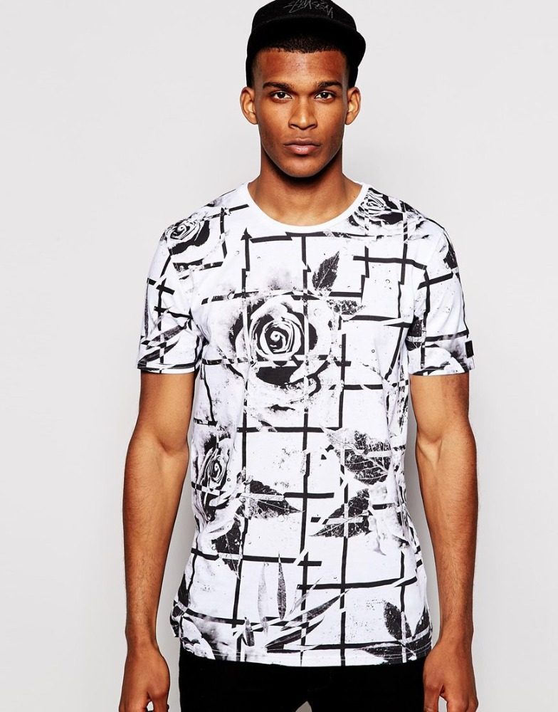 All over printed 3d t-shirt men's custom t shirt 100 cotton with flower