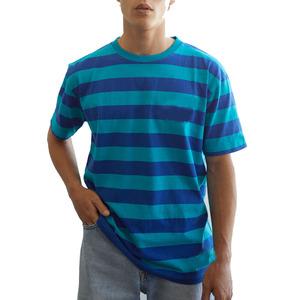 OEM thick horizontal stripe t-shirts men heavyweight t-shirt