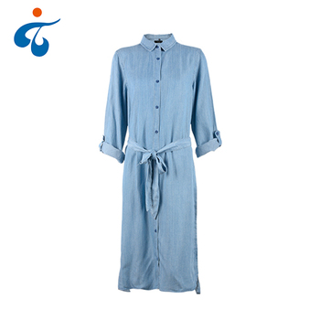 New model fashion long sleeve stripe summer maxi denim woman long dress