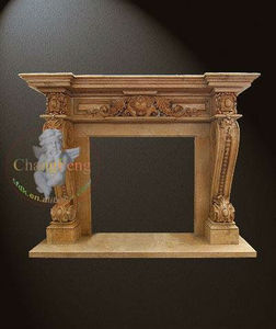 Brown Marbles Antique Detaild Carving Fireplace Mantels