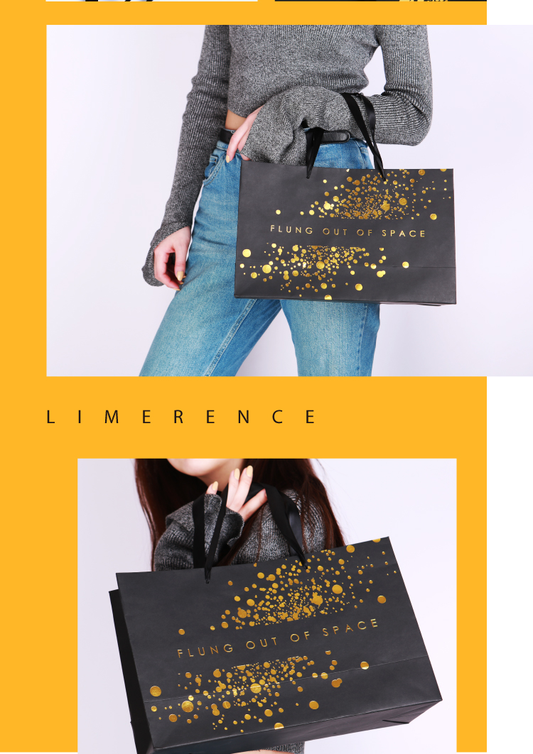 custom print logo brand  gold black paper shopping packaging bag for clothing