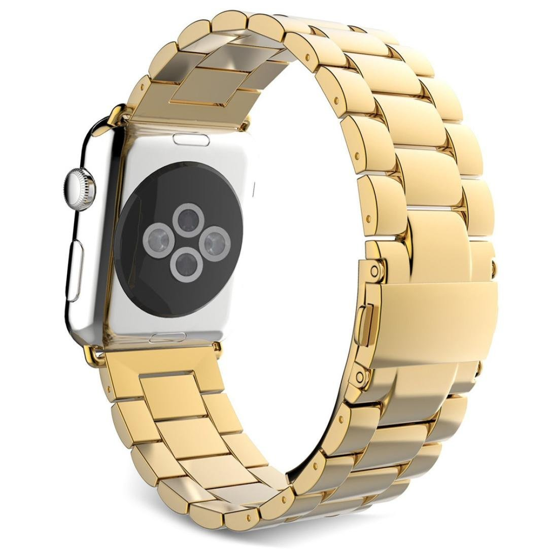 For Apple Watch Band 38MM, HP95(TM) Luxury Replacement Stainless Steel Band Strap Bracelet For Apple Watch 38mm (Gold)