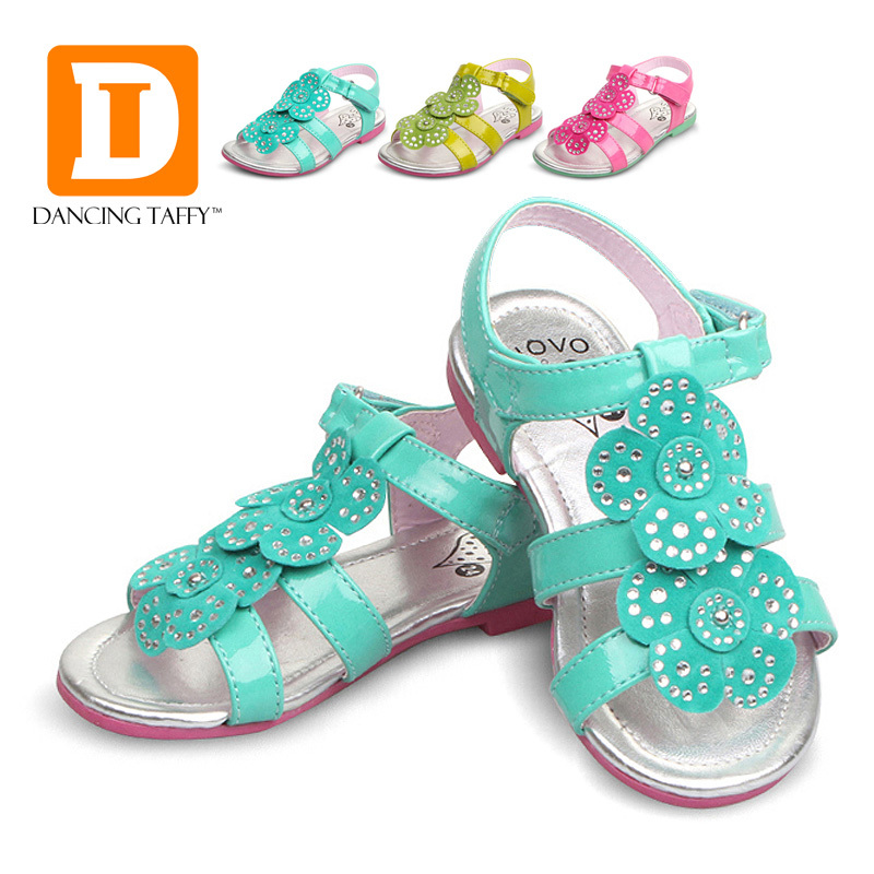 ee8977596a0ef Get Quotations · New 2015 Summer Girls Sandals Fashion Flower Children  Sandals Pu Leather Girl Shoes Ankle Warp Flat