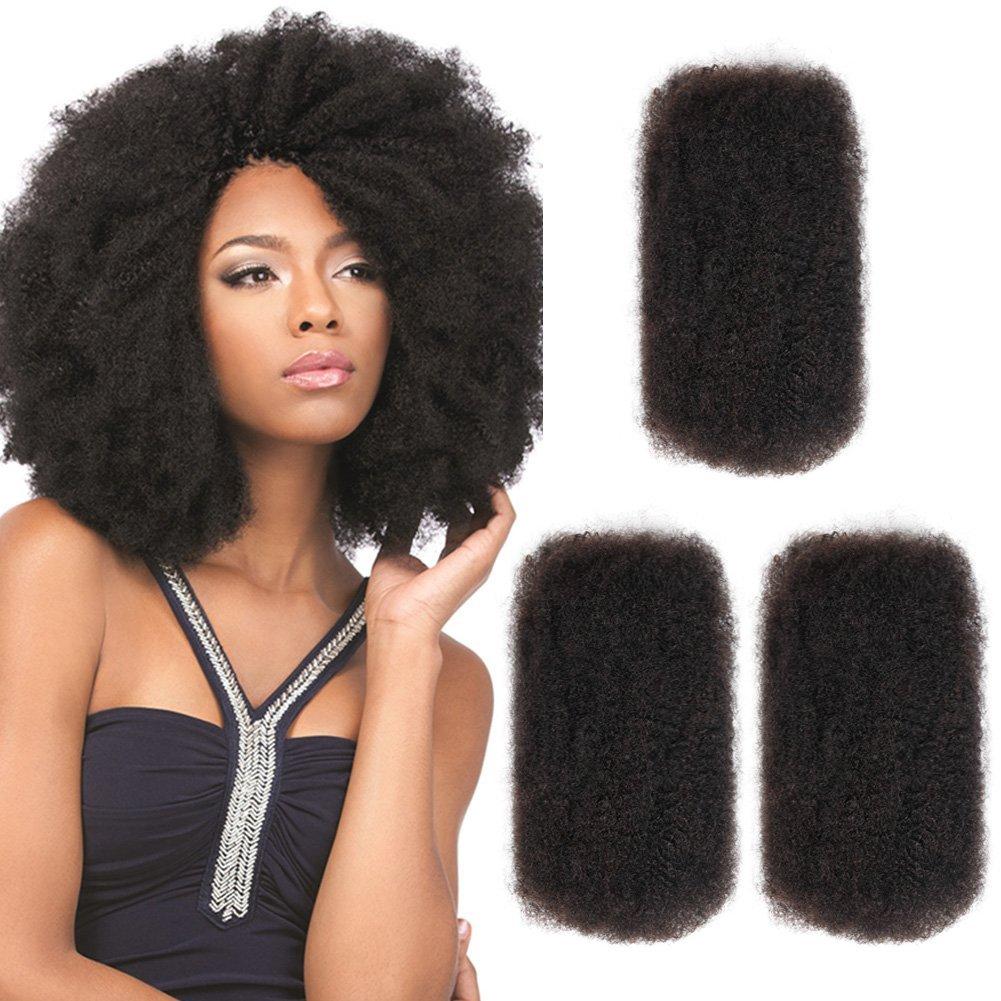 "SLEEK 3 Bundles Afro Kinkys Bulk Human Hair (14""/14""/14"", Natural Black) - Afro Twist Braiding Hair - Curly Hair Extensions Human Hair - Afro Bulk Braiding Hair for Dreadlocks - Loc Braiding Hair"